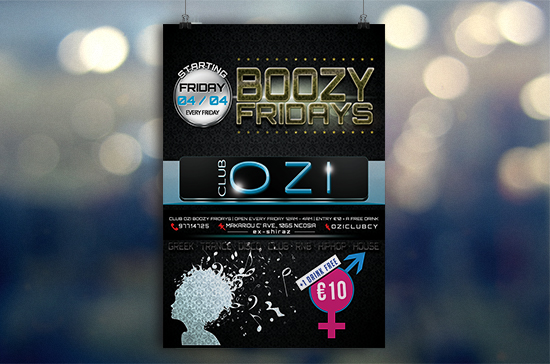 iCreate Web Design | Flyer & Poster Design | OZI Night Club | Boozy Fridays