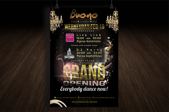 iCreate Web Design | Flyer & Poster Design | Buono Cafe Grand Opening