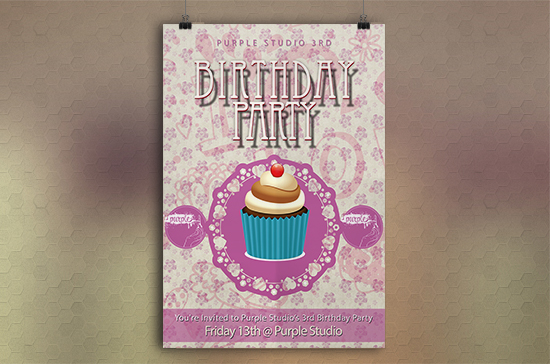 iCreate Web Design | Flyer & Poster Design | Purple Studio Birthday Party