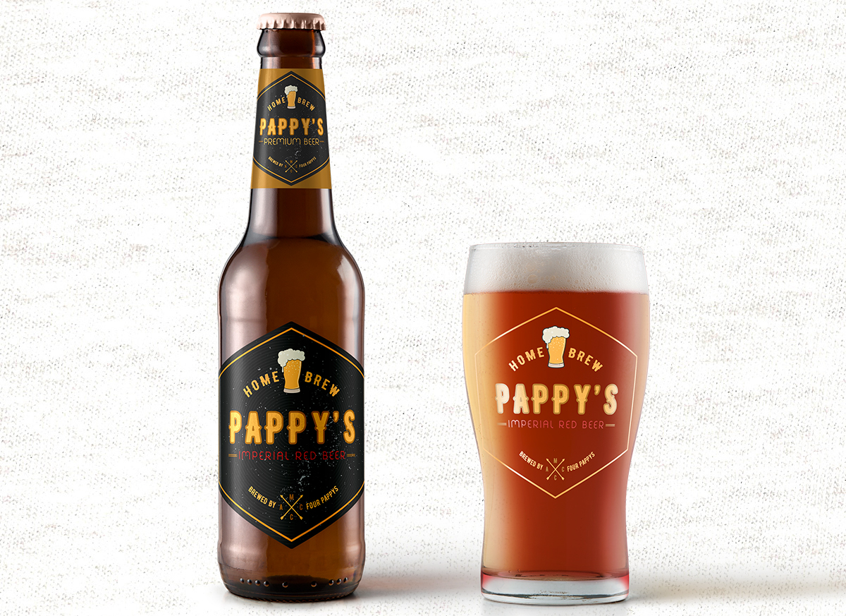 iCreate Web Design | Logo Design & Branding | Pappys Home Brewed Premium Beer Bottle and Glass